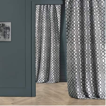 Filigree Silver & Pewter Flocked Faux Silk Curtain