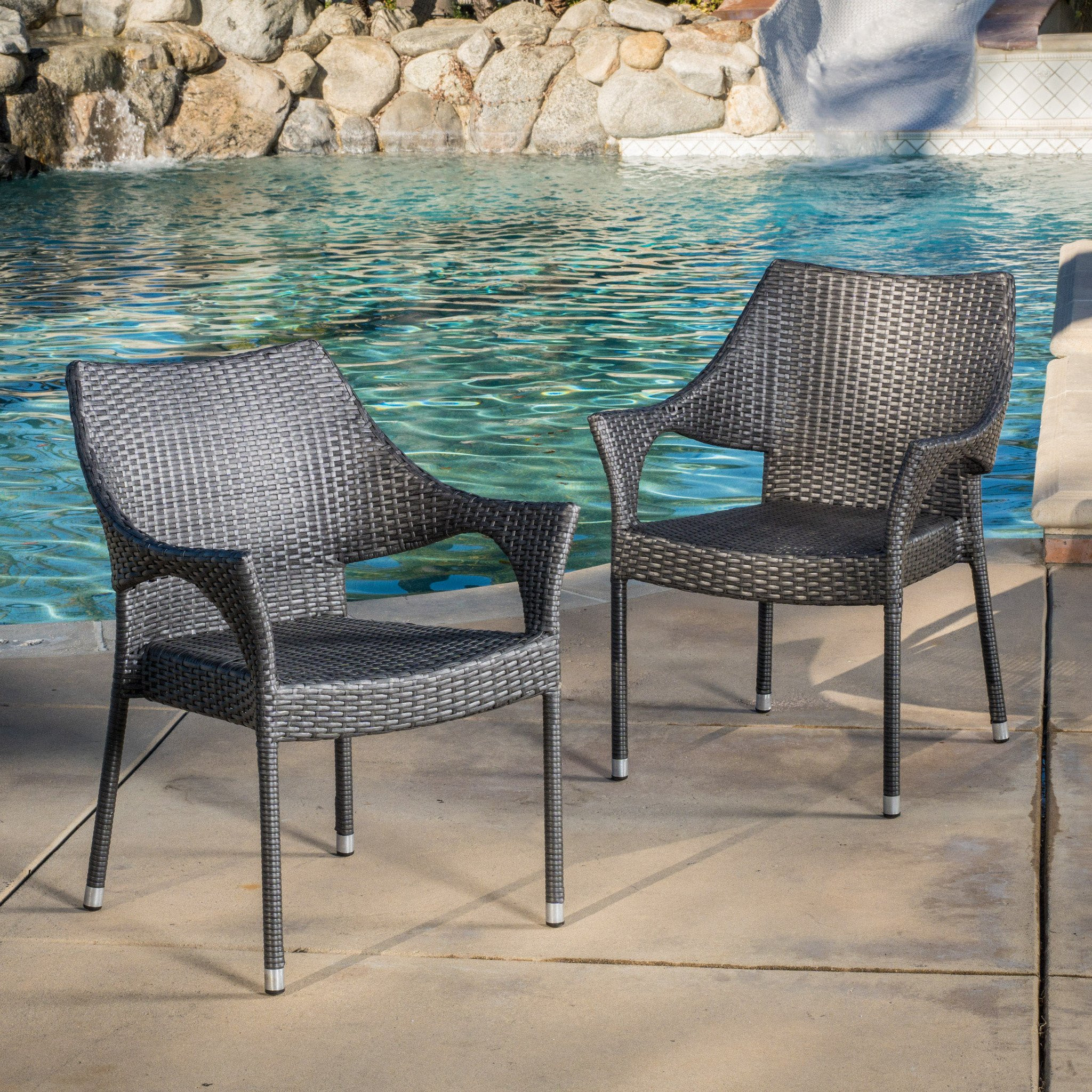 Alameda Outdoor Grey Wicker Chairs (Set of 2)