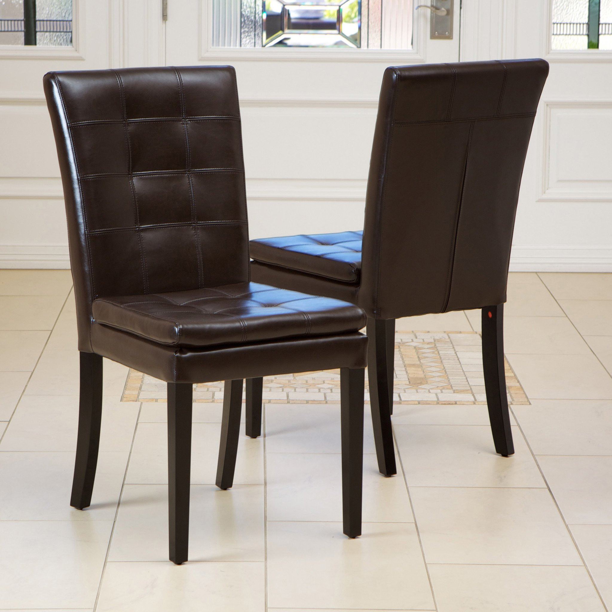 Barrington Brown Leather Dining Chairs (Set of 2)