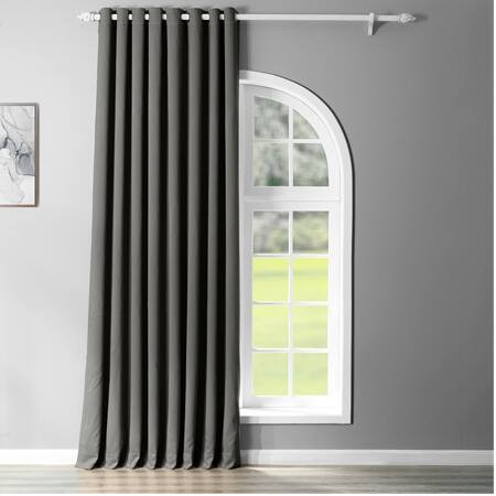 Anthracite Grey Grommet Extra Wide Blackout Curtai...