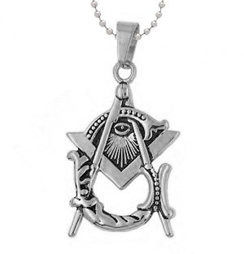 Freemason Pendant - Silver Tone Stainless Steel wi...