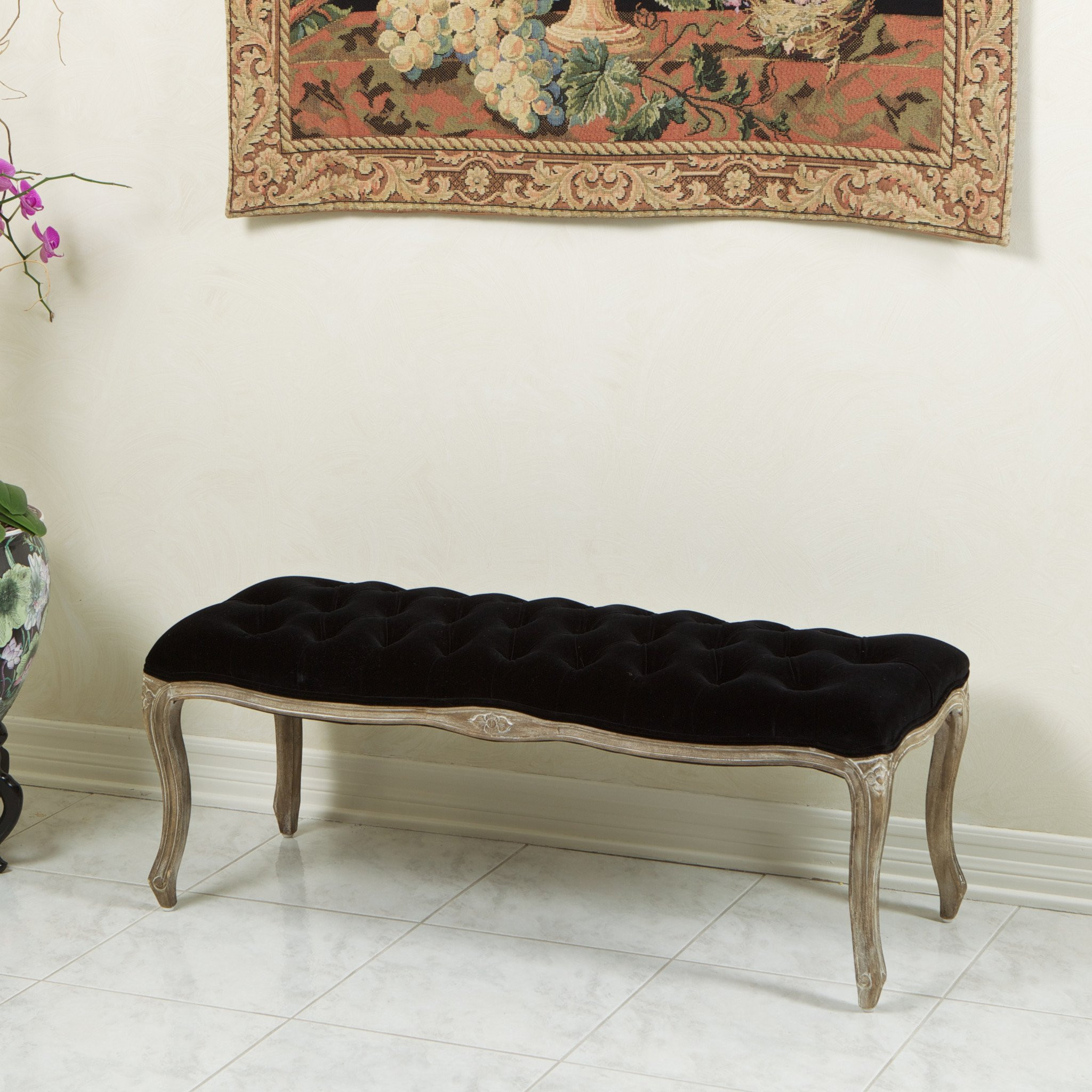 Francis Black Fabric Ottoman Bench