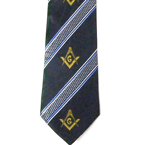 Masonic Neck Tie - Navy Blue Polyester long tie wi...