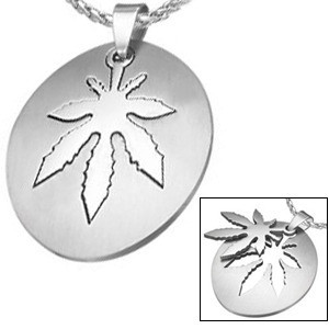 Marijuana Symbol - 2pc Stainless Steel Sectional O...