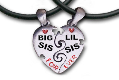 Big Sis & LiL Sis Necklaces - 2 Pewter Pendant...