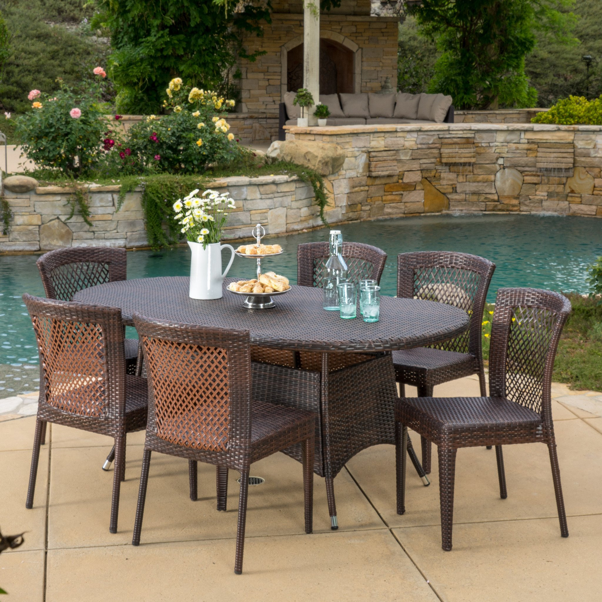 Perry Outdoor 7pc Multibrown Wicker Round Dining S...