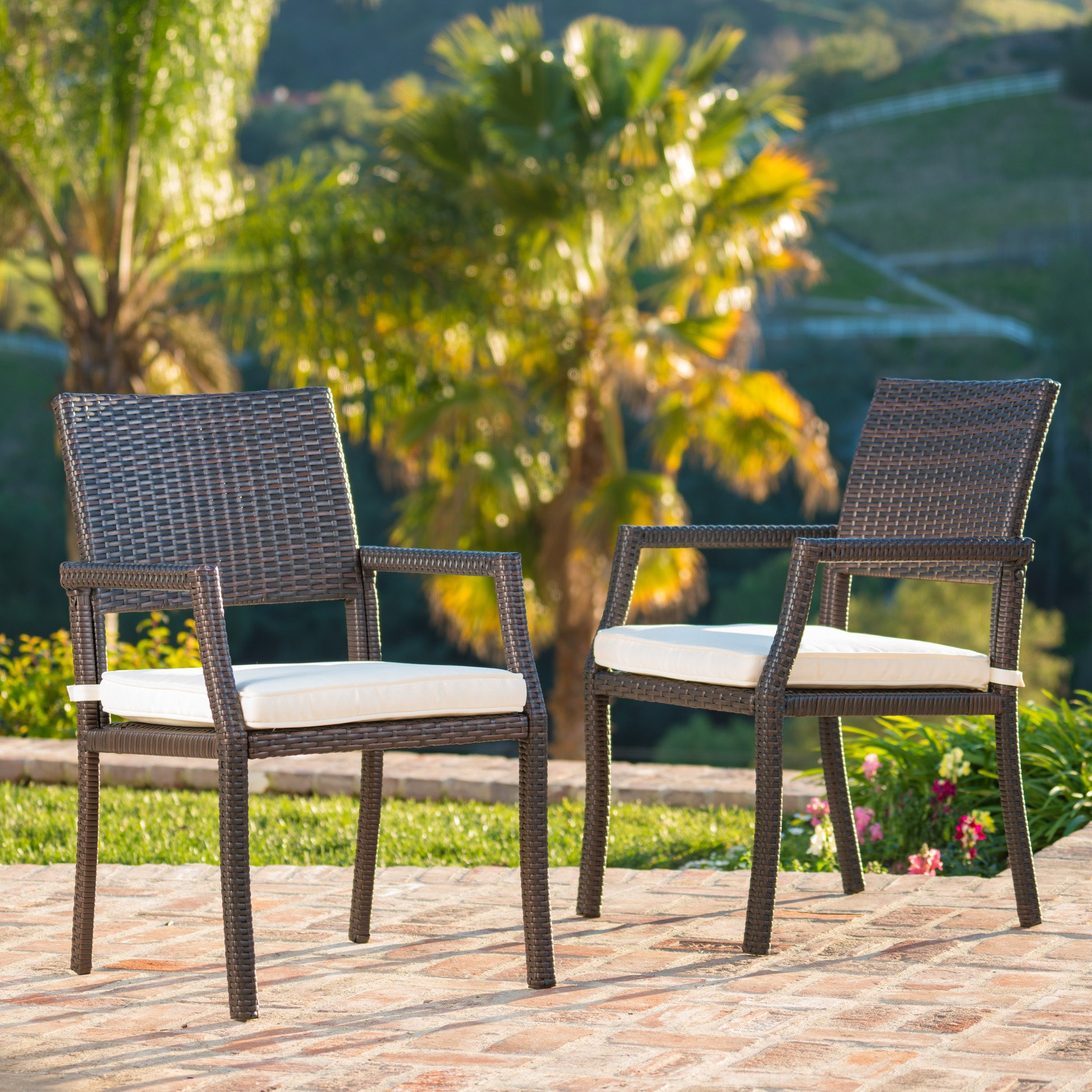 Edene Outdoor Wicker Dining Chairs Water Resistant...