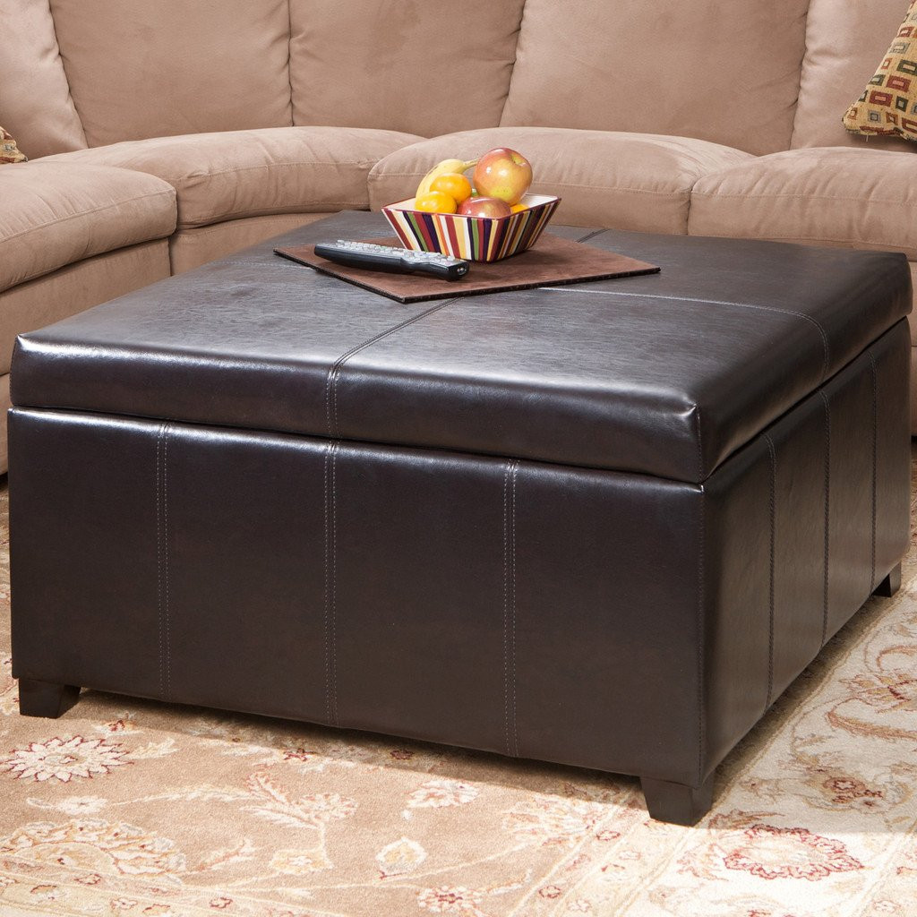 Berkeley Brown Linen Square Storage Ottoman