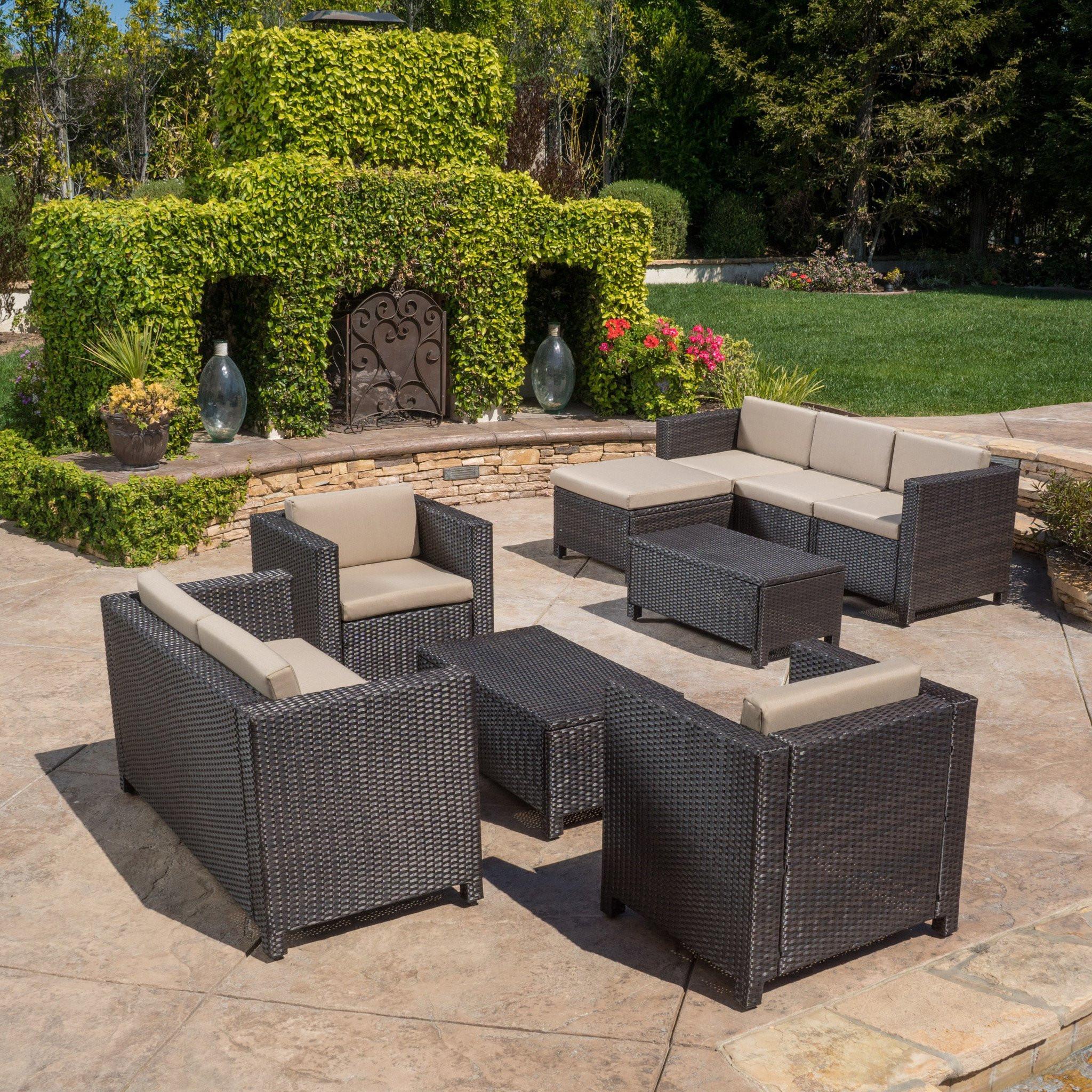 Budva 9pc Outdoor Wicker Sectional Sofa Set w/ Cus...