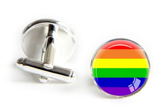 Round Gay Pride Rainbow Cufflinks - LGBT Gay &...