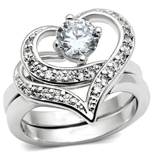 Classy Carmen CZ Hearts - 2pc Engagement Ring Comm...