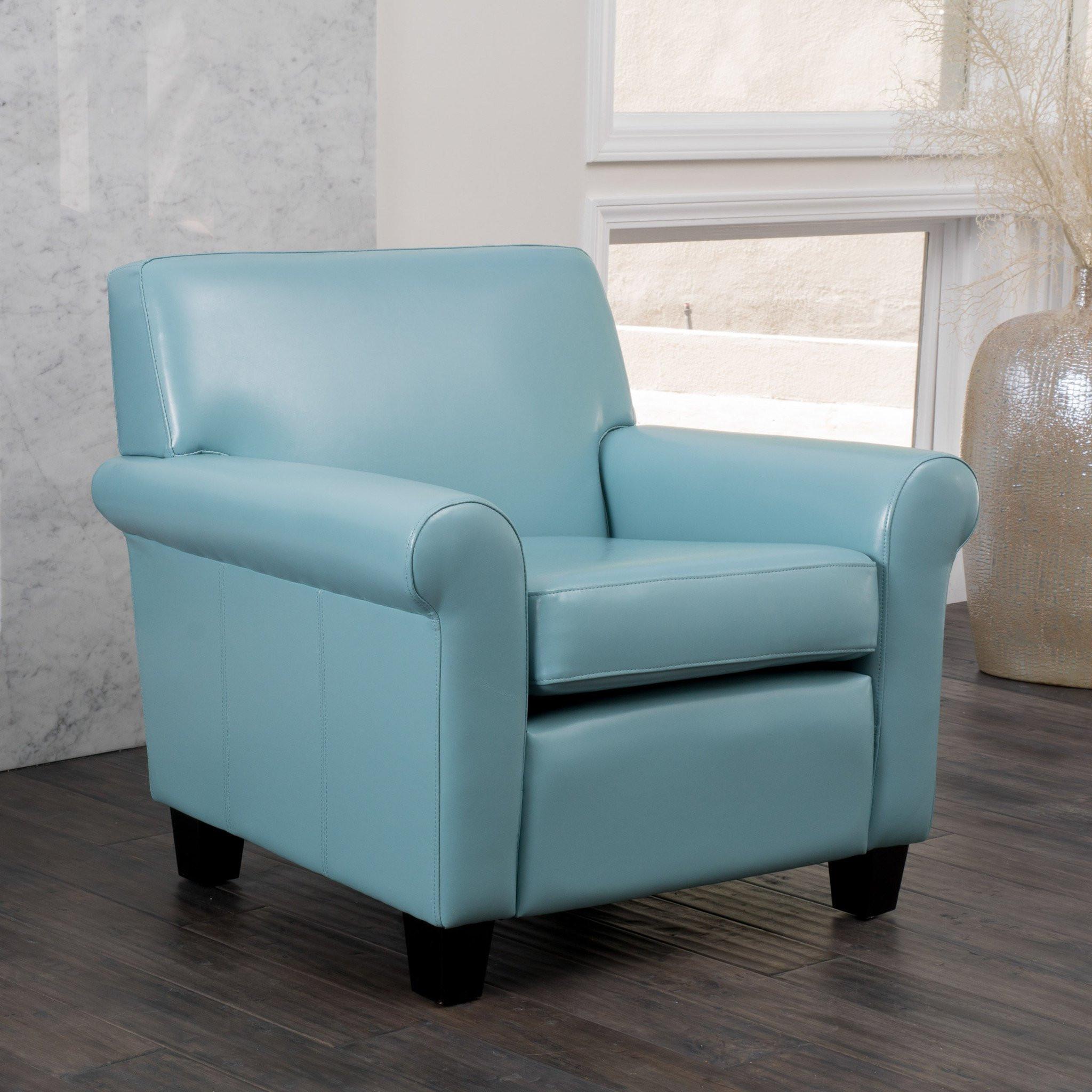 Addison Teal Blue Leather Club Chair