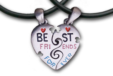 Two Piece Best Friends Forever (BFF) Set - 2 Pewte...