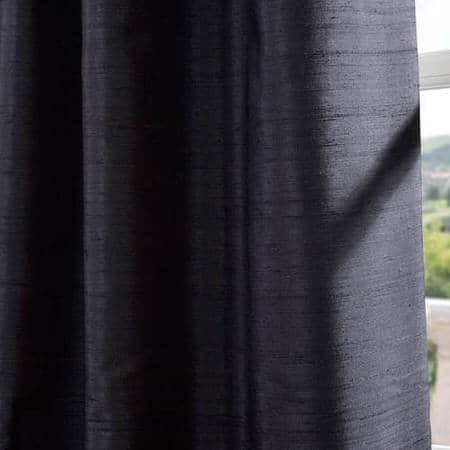Black Textured Dupioni Silk Fabric
