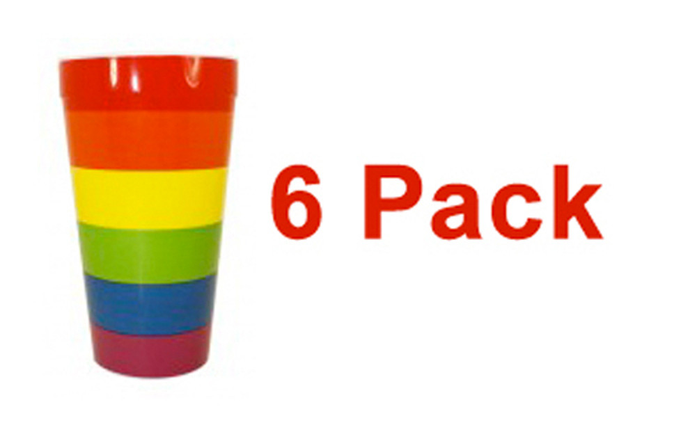 6 Pack - Rainbow Pride Reusable Plastic Cups (16oz...
