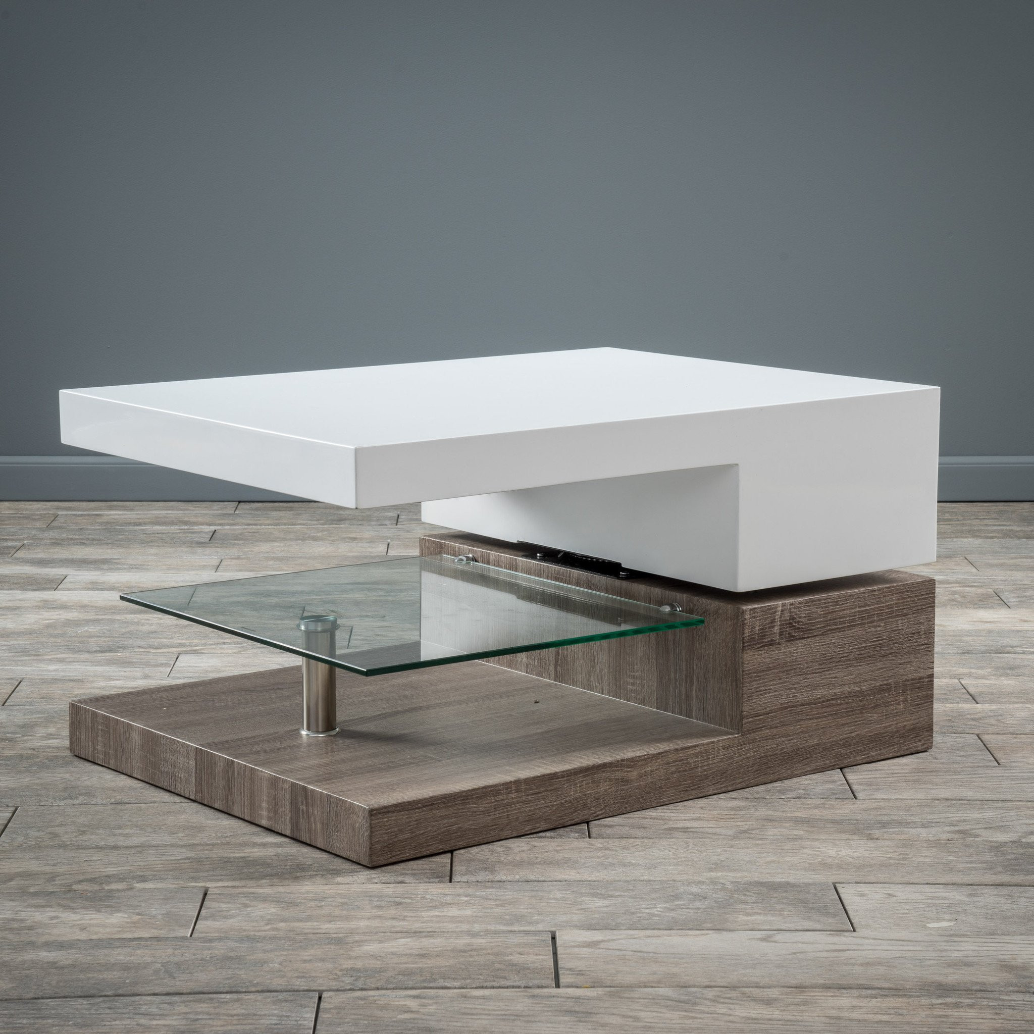Emerson Rectangular Mod Swivel Coffee Table w/ Gla...