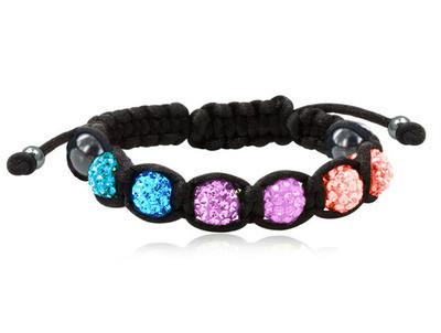 Shamballa Bisexual Pride Adjustable Black Wristlet...