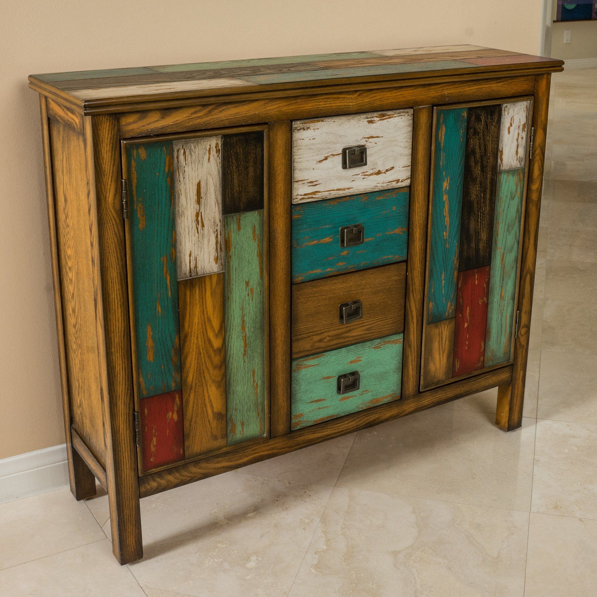 Delaney Antique Multicolor Distressed Wood Storage...
