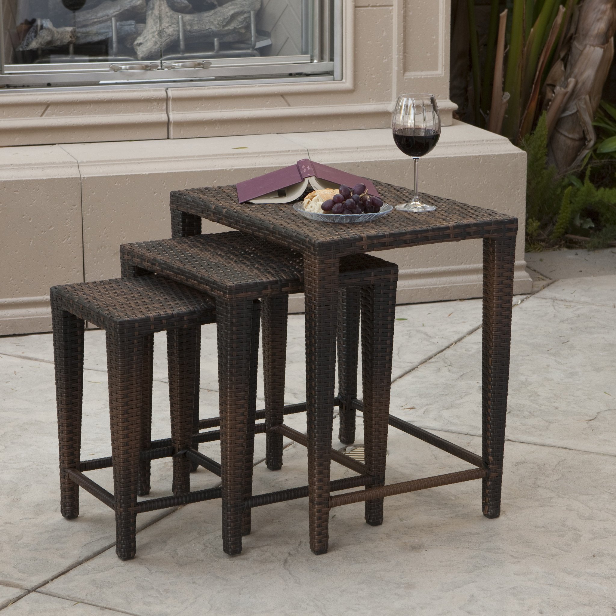Mayall Multibrown Wicker Nested Side Tables (Set o...