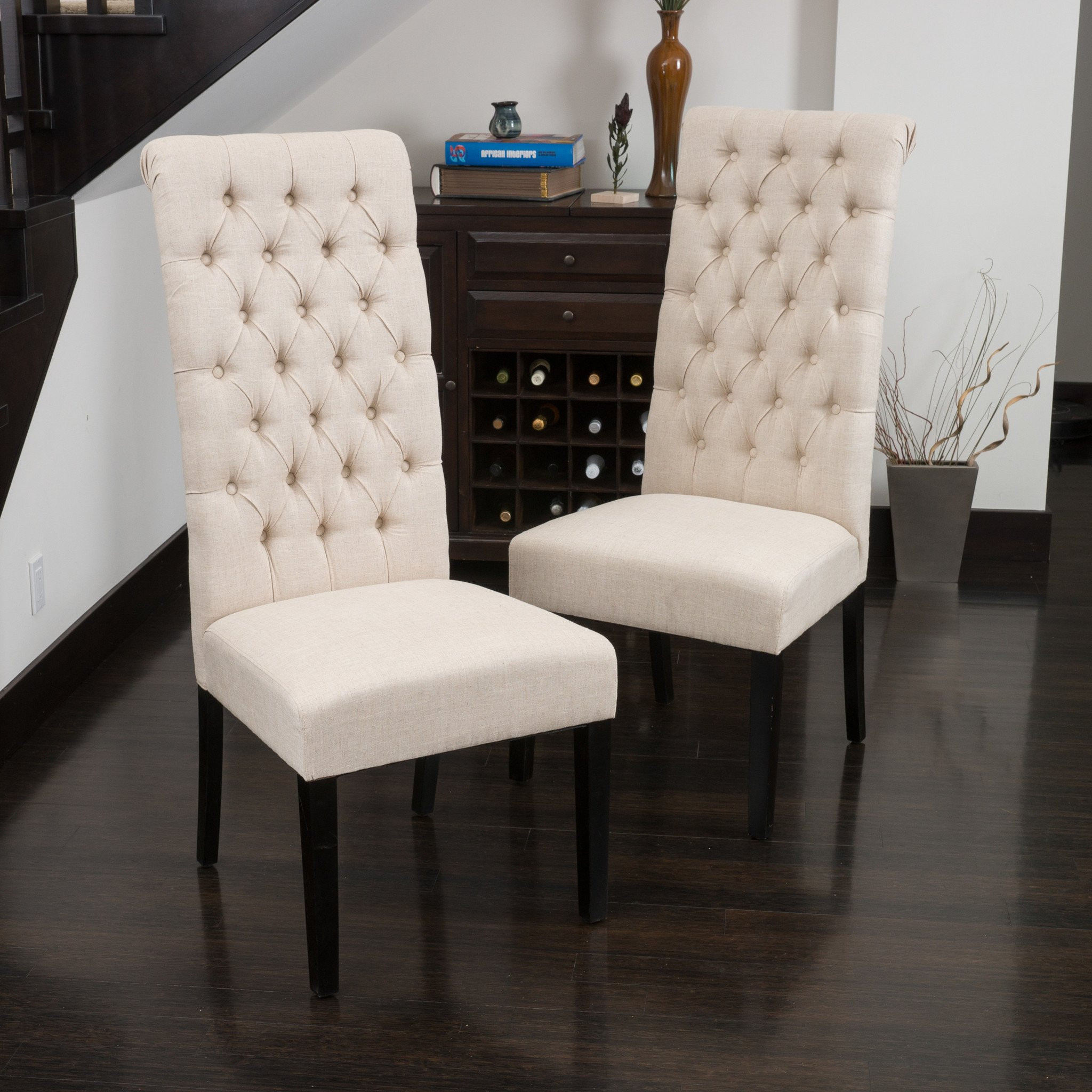 Charley Tall Dark Beige Tufted Dining Chairs (Set...
