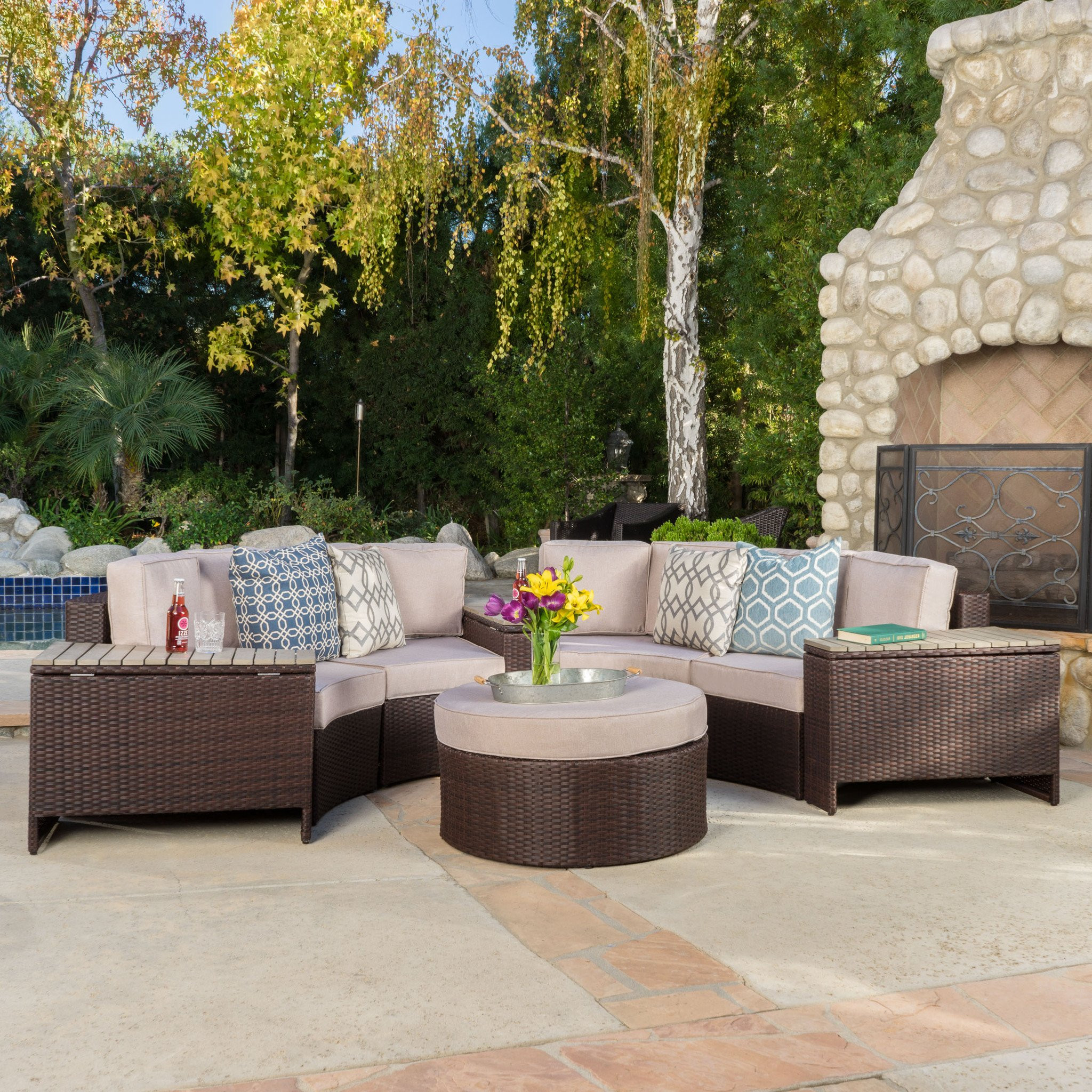 Riviera 8pc Outdoor Sectional Sofa Set w/ Storage...