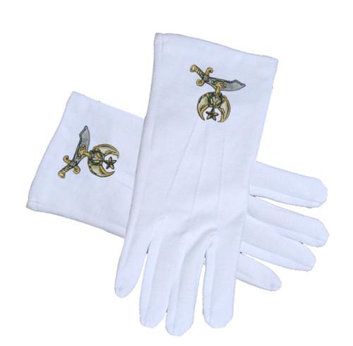 Masonic Shriner Symbol Cotton Gloves - White (One...