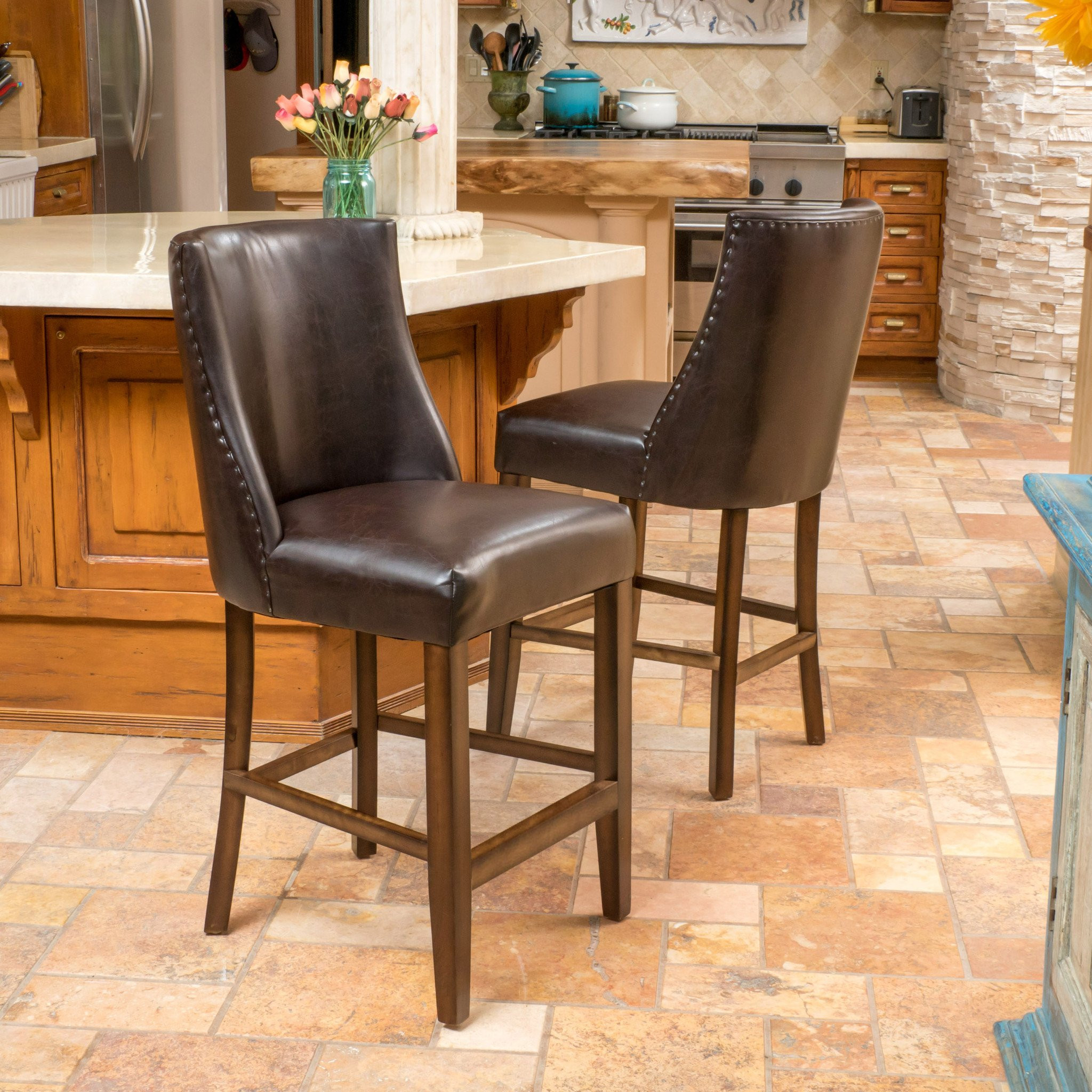 Rydel Nailhead Accent Brown Leather Counter Stools...