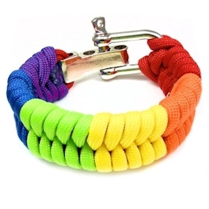 Bright Full Rainbow Paracord Bracelet - LGBT Gay P...