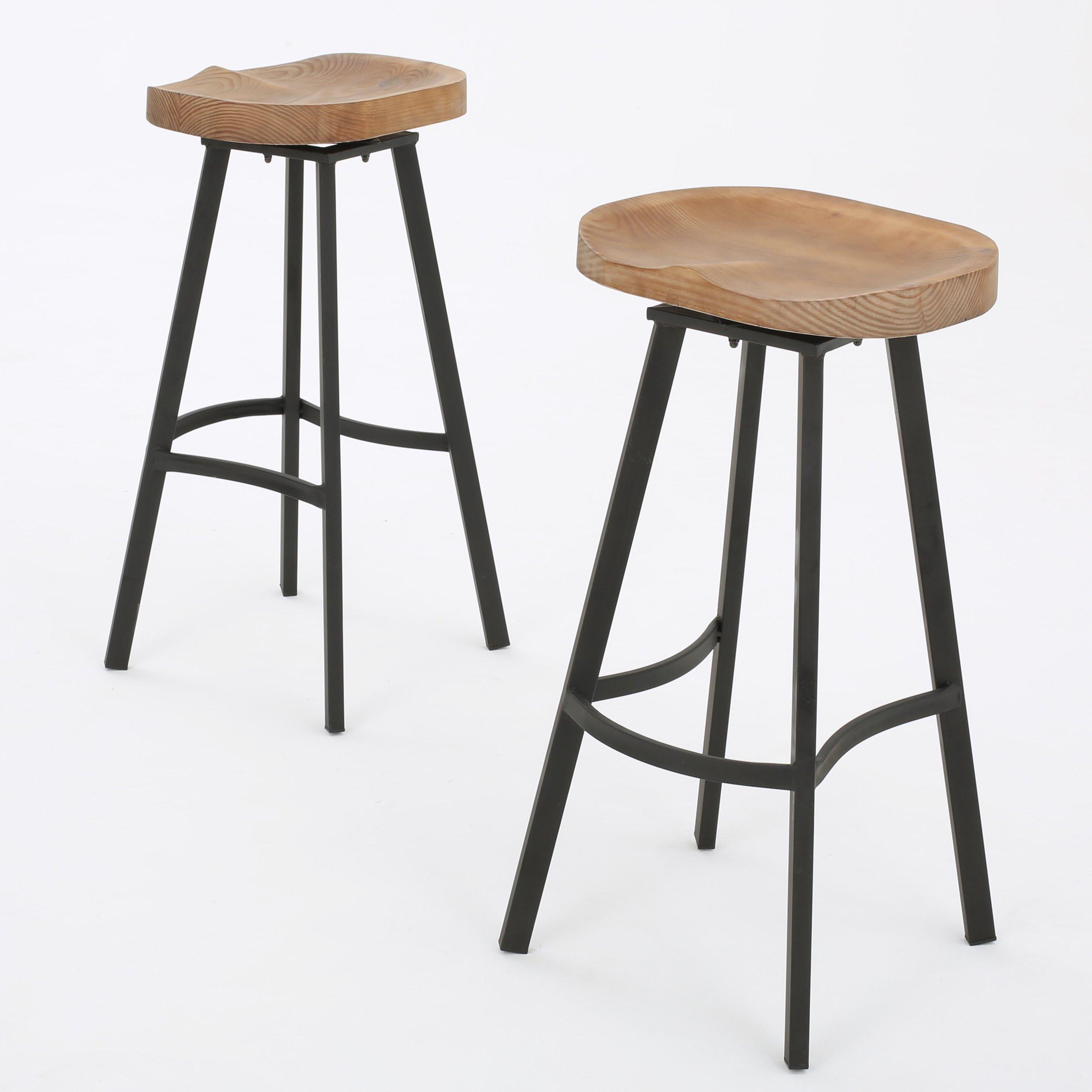 Shea wood and iron rustic Swivel Barstool (Set of...