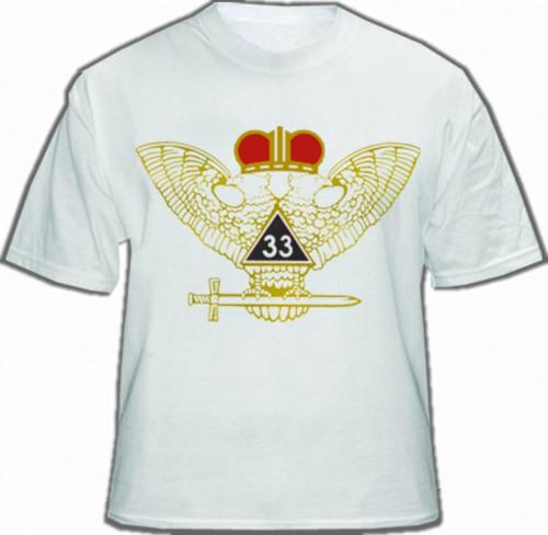 Masonic Scottish Rite T-Shirt (White) 33rd Degree...