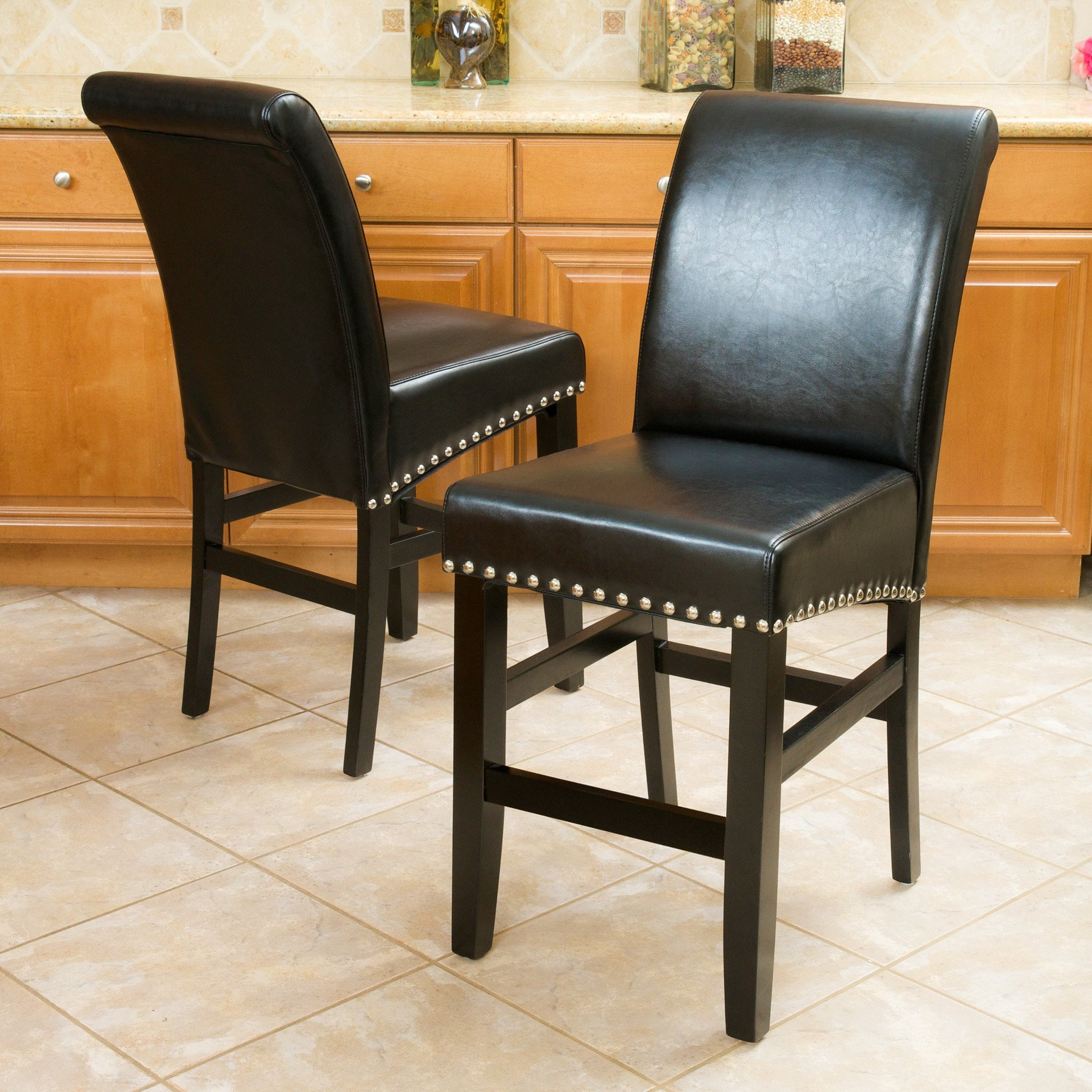 Clifton Black Leather Counter Stool (Set of 2)