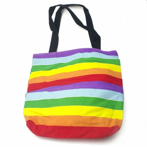 Large Full Rainbow Pride Tote Bag with zipper clos...