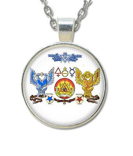 Scottish Rite Masonic Glass Necklace Pendant - Dou...
