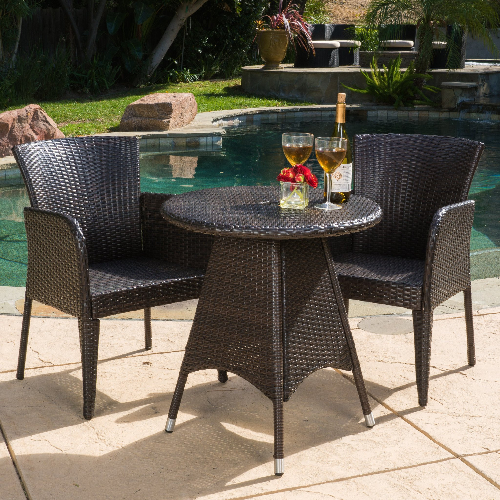 Mockler Outdoor Contemporary Multi-Brown Round 3pc...