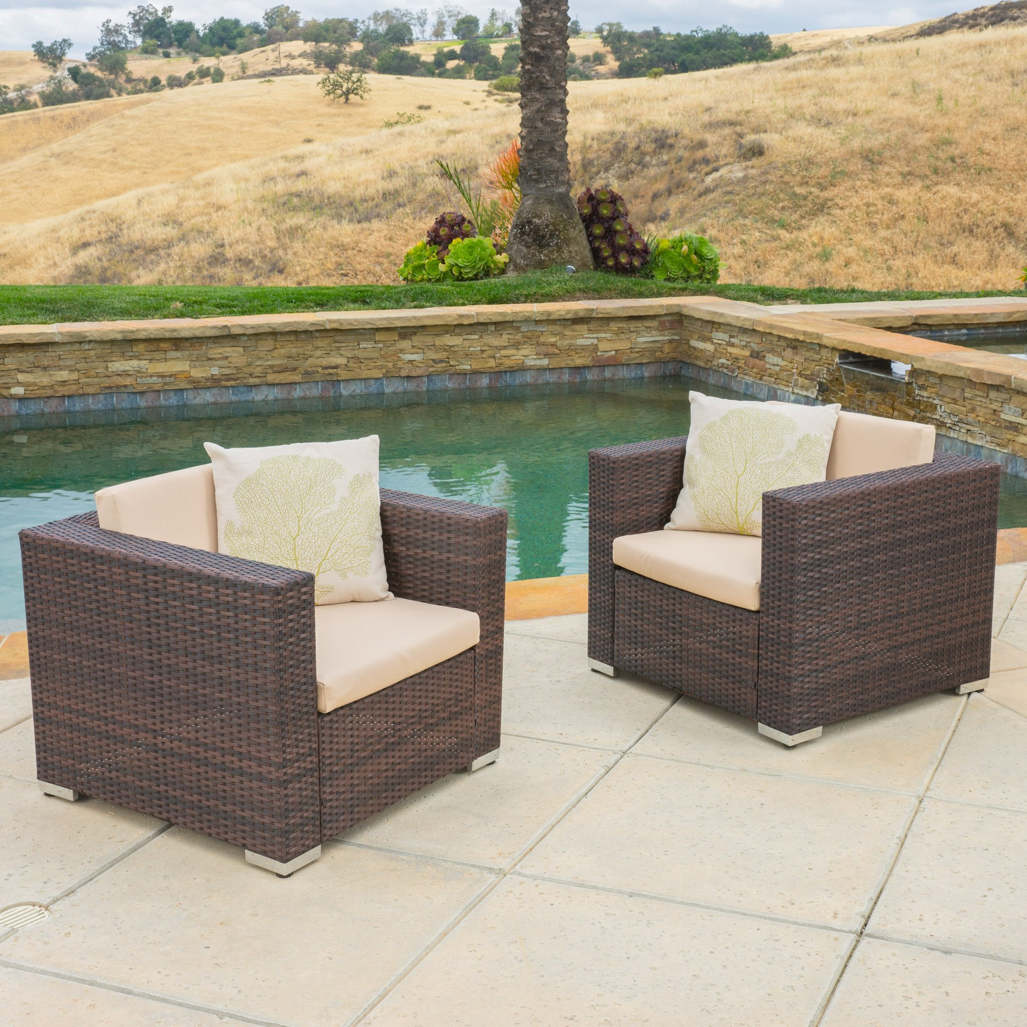 Westlake Outdoor Brown PE Wicker Sofa Club Chairs...