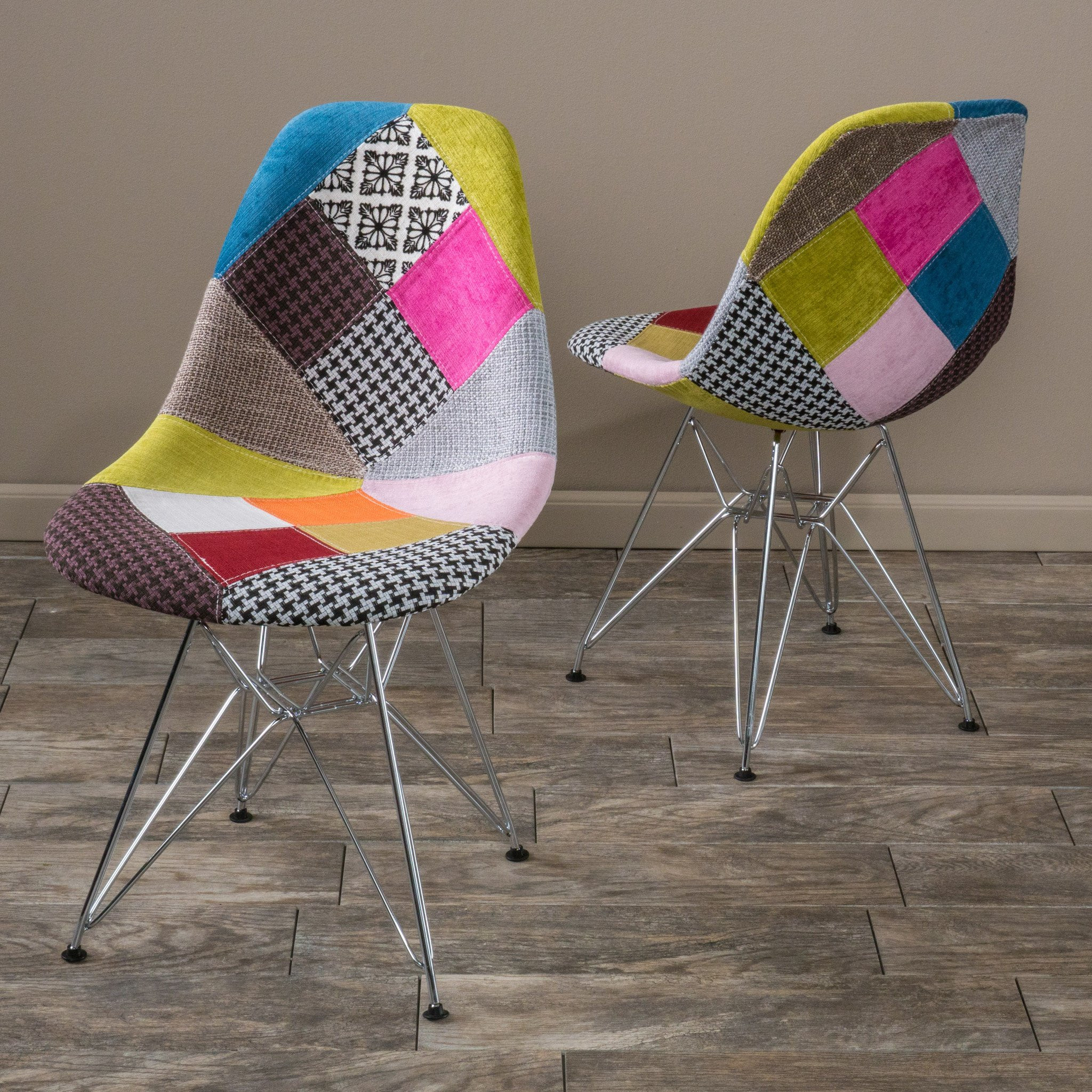 Cassius Multi-Color Patchwork Fabric Chairs (Set o...