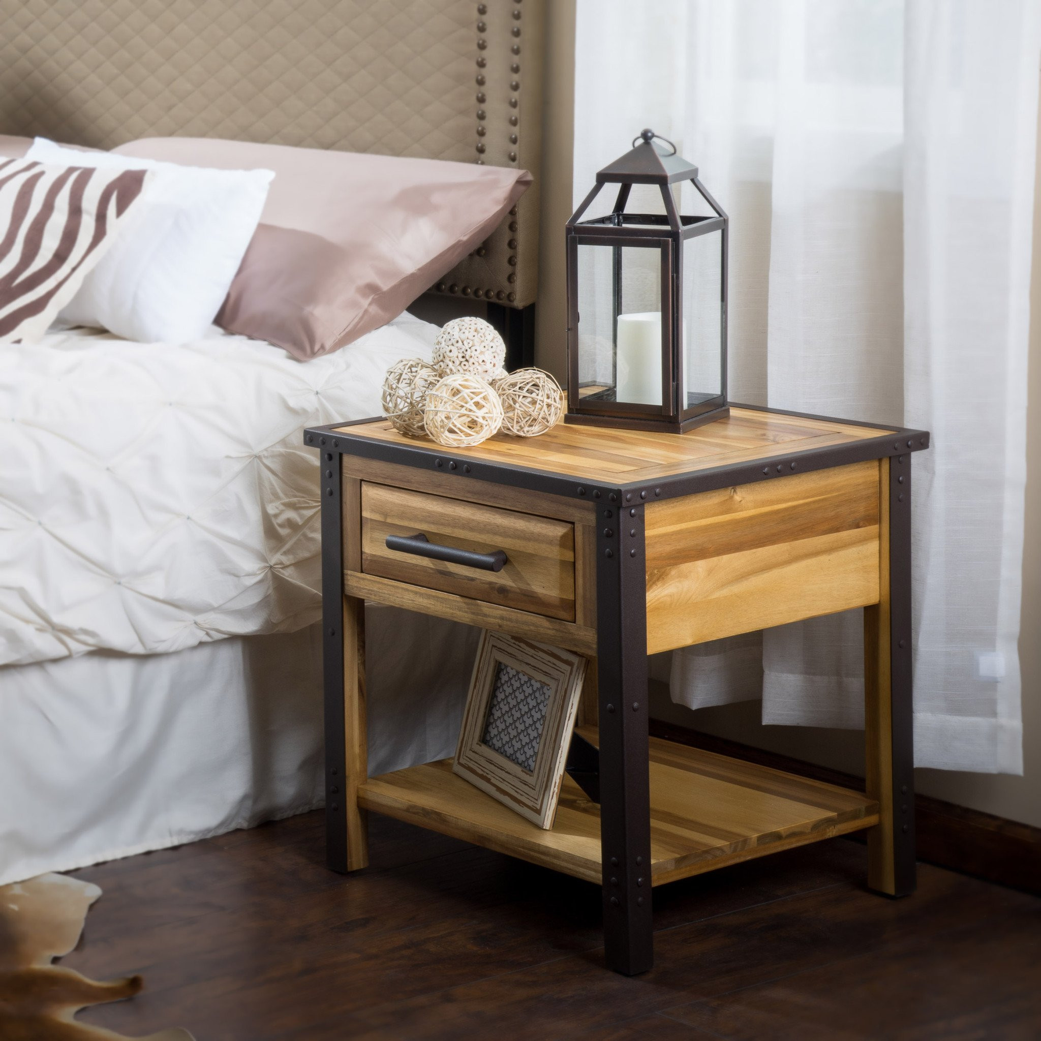 Glendora Industrial Solid Wood Single Drawer Night...
