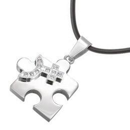 Female CZ Bling Puzzle Steel & Venus Symbol Le...