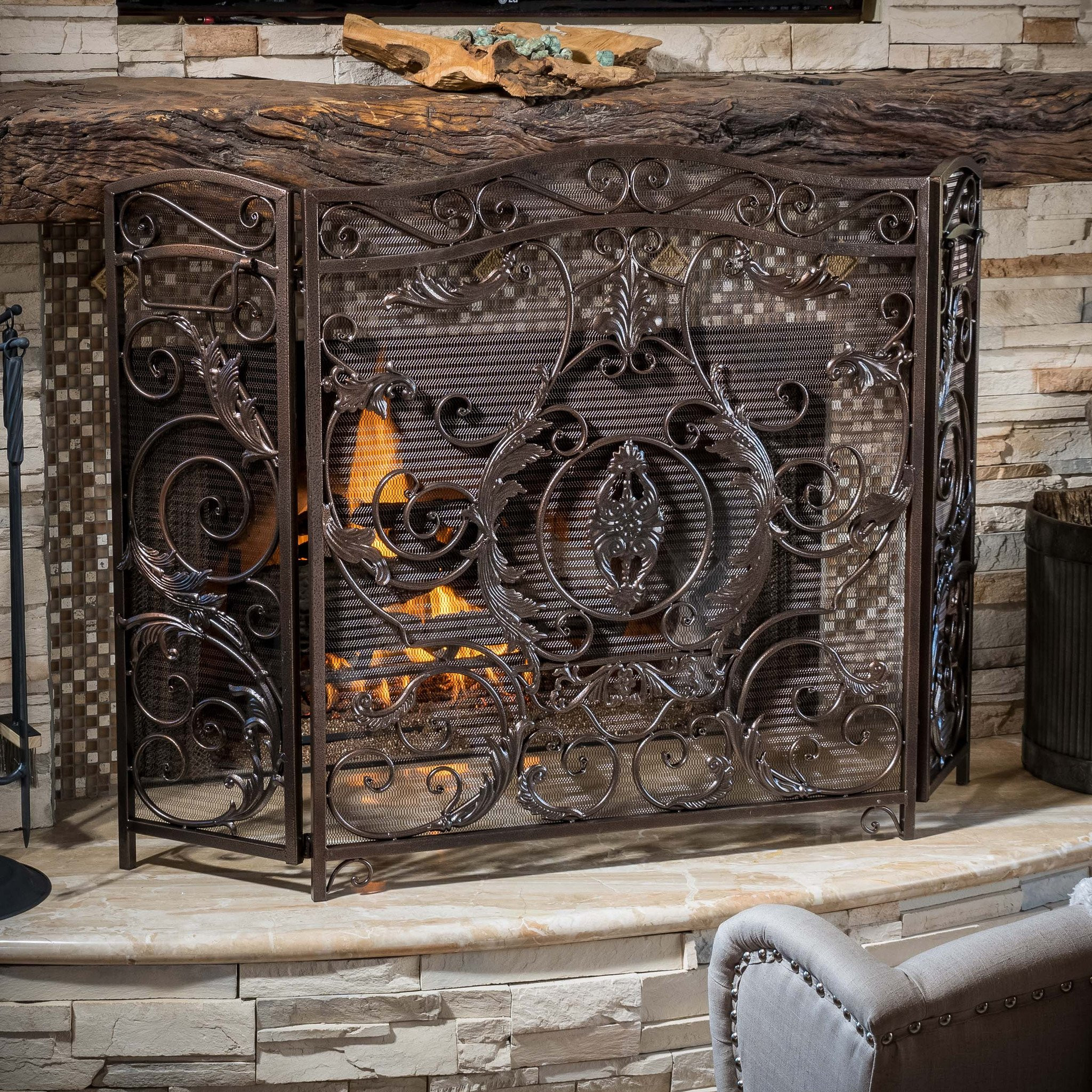 Mariella Black Gold Finish Floral Iron Fireplace S...