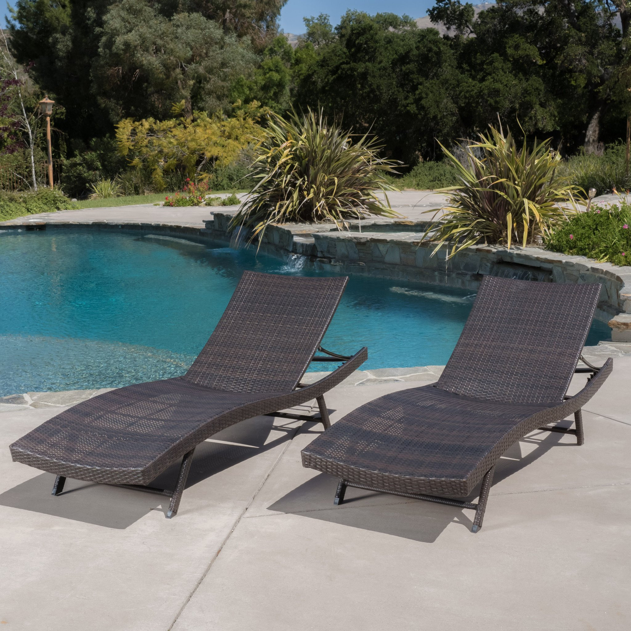 Eliana Outdoor Brown Wicker Chaise Lounge Chairs (...