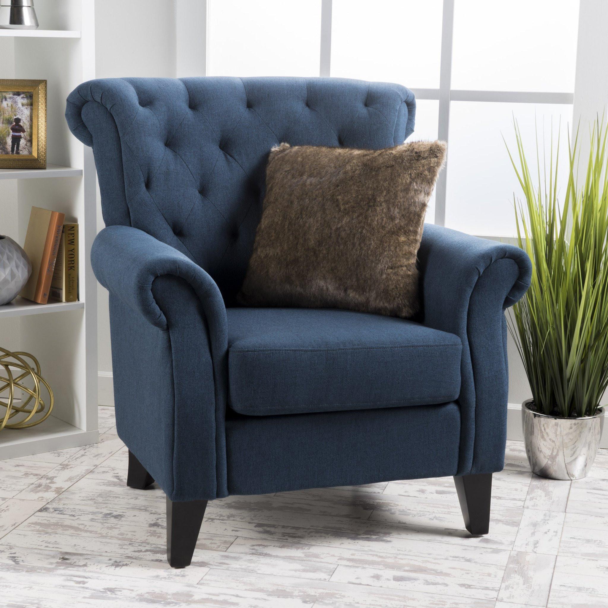 Alpha Tufted Light Beige Fabric Club Chair