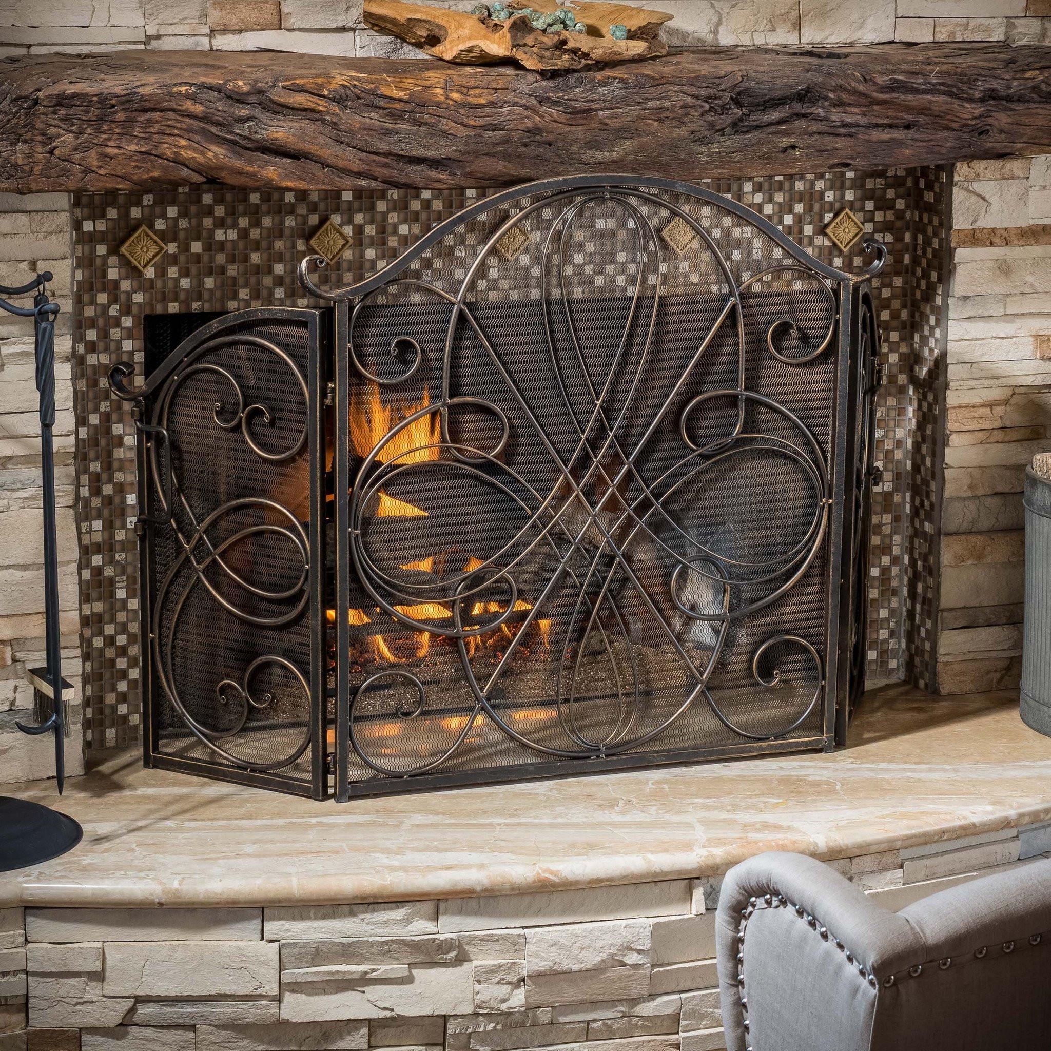 Rosalinda Black Gold Finish Floral Iron Fireplace...