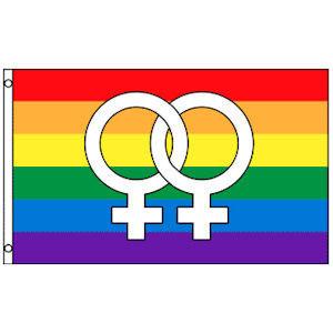 Rainbow Flag / Lesbian Pride Flag (Double Female V...