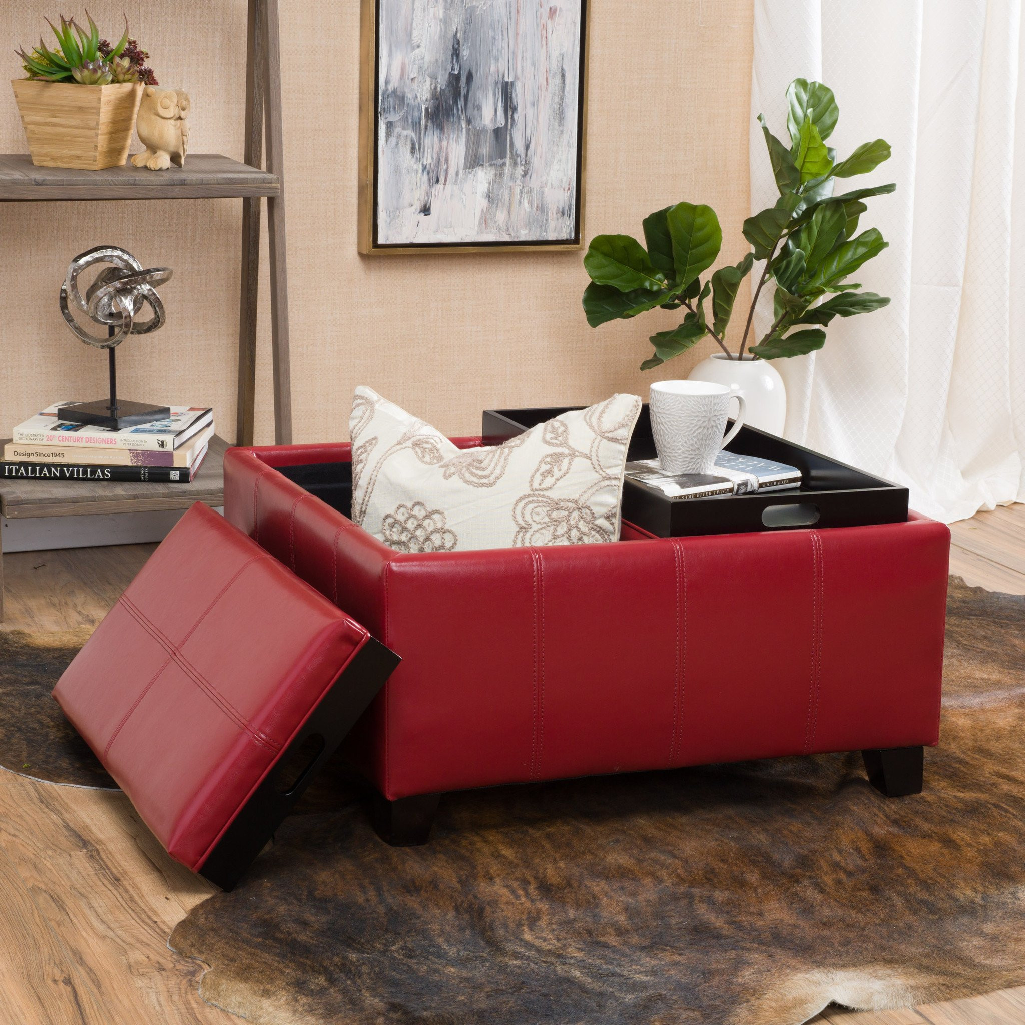 Justin 2-Tray-Top Red Ottoman Coffee Table w/ Stor...
