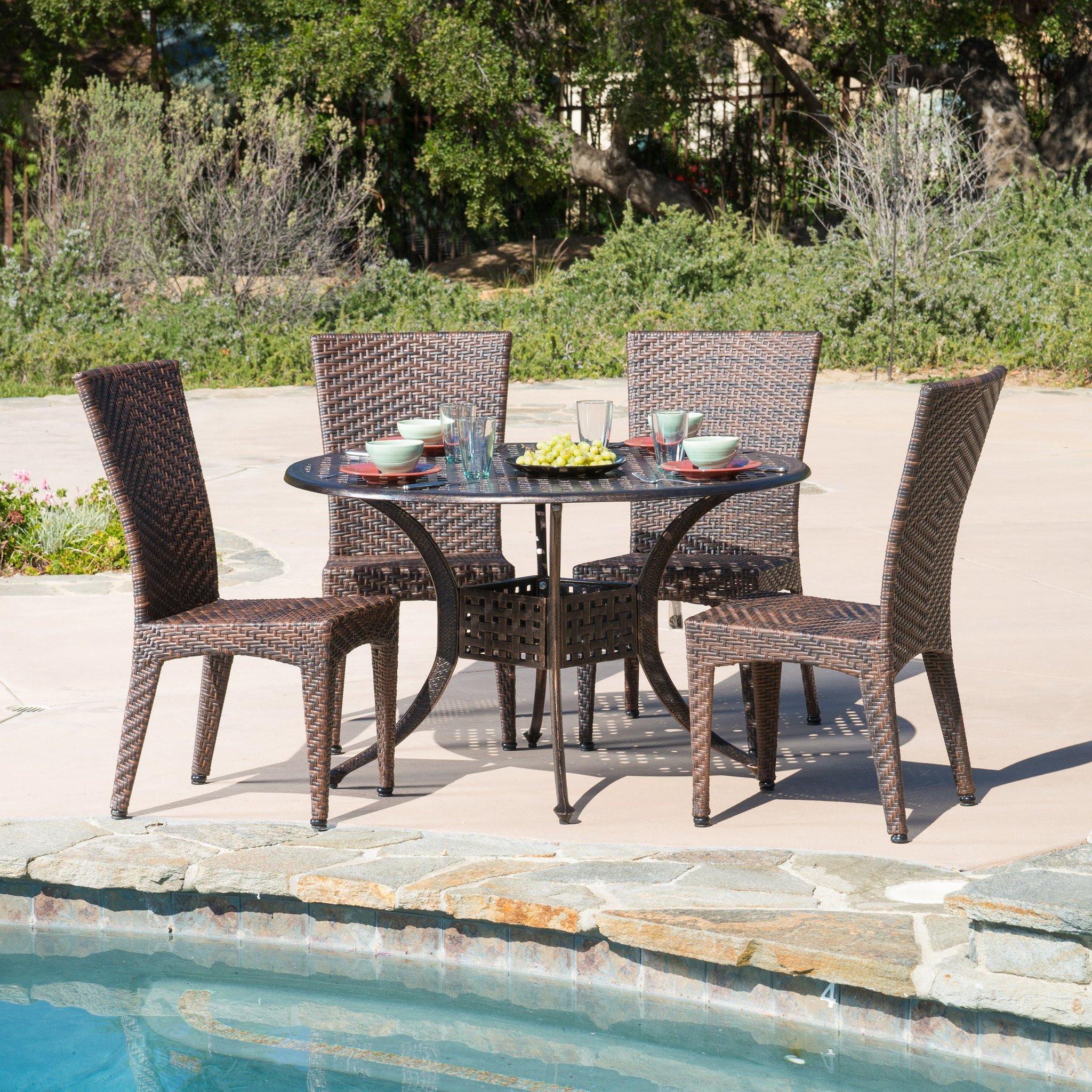Anniston Outdoor 5pcs Cast Aluminum Wicker Dining...
