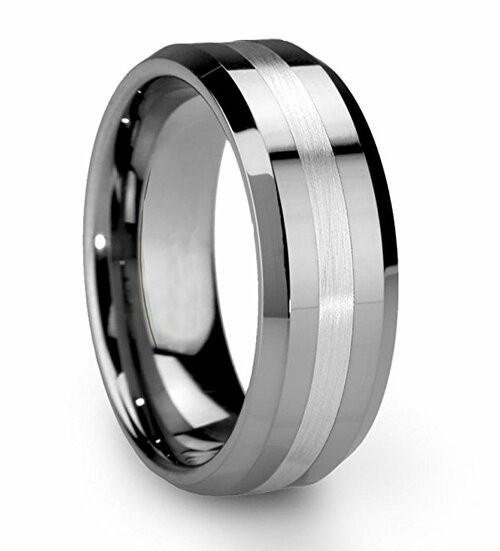 8mm - Unisex or Men's Tungsten Wedding Band Ri...