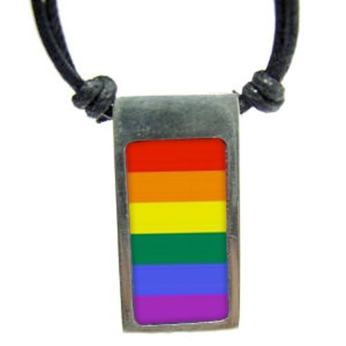 Rainbow Gay Pride Vertical Flag Pendant - Pewter N...