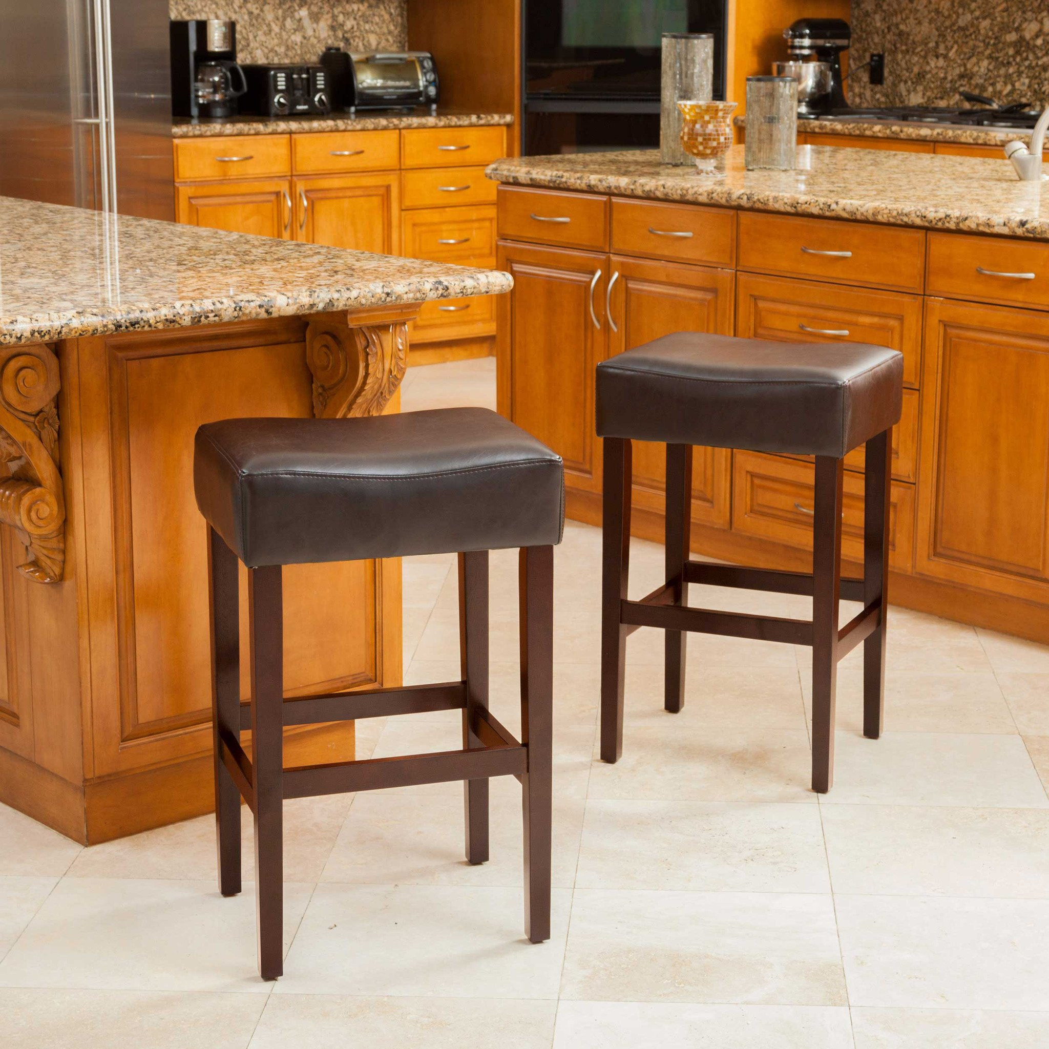 Duff Backless Brown Leather Counter Stools (Set of...
