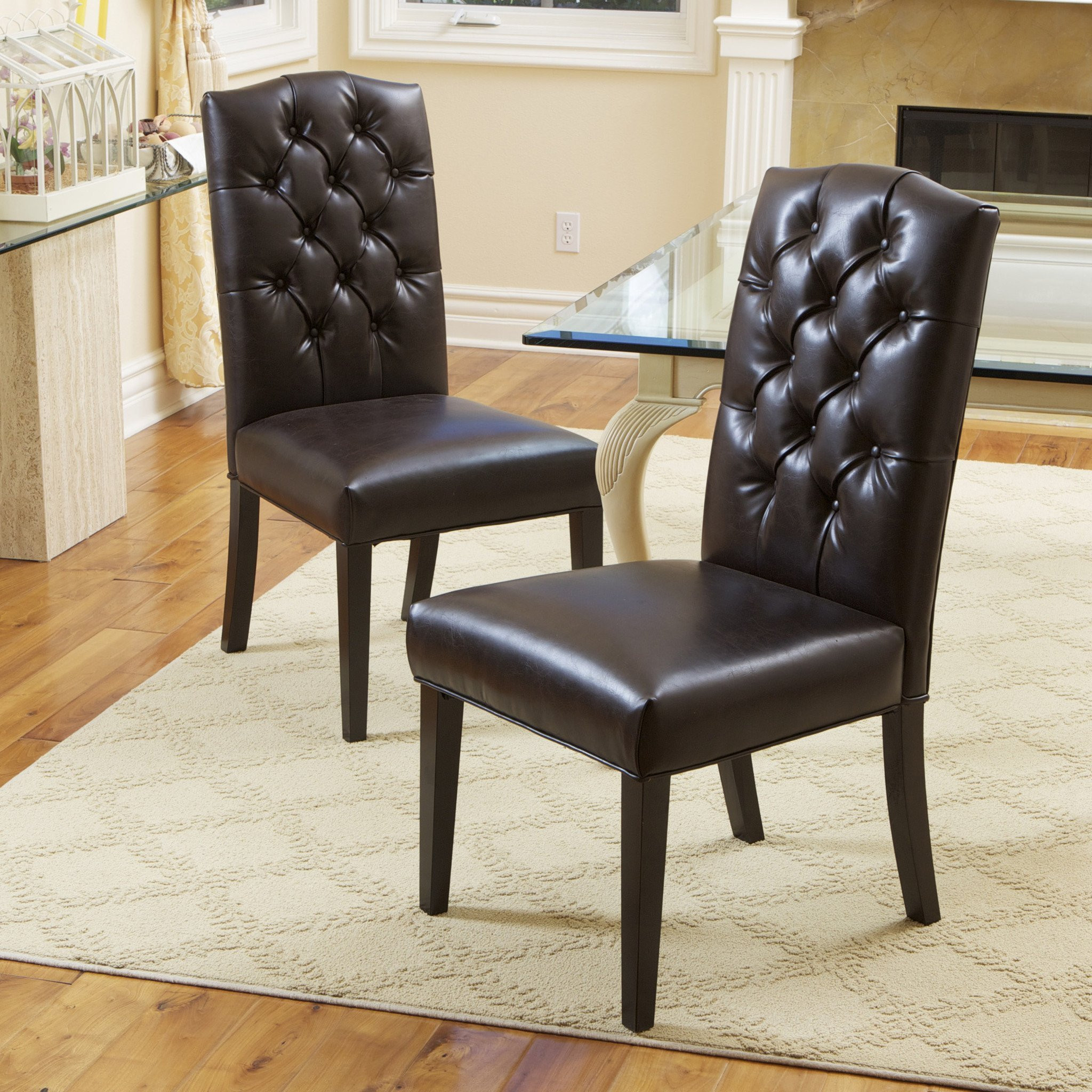 Clark Brown Leather Dining Chair (Set of 2)