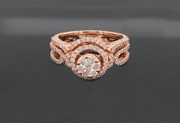 14K Rose Gold Round Diamond Engagement Ring and We...